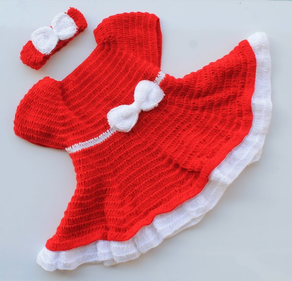 Red and White Heavy Frill Frock with Headband and Booties