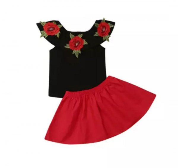 Applique Top with Contrast Skirt