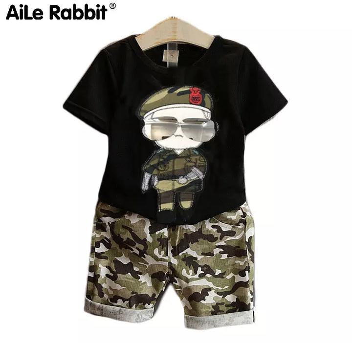 Attached Sunglasses Black Top With Army Print Capri