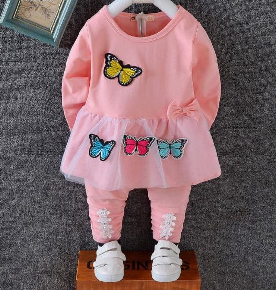 Baby Pink Butterfly  Applique Set for Girls