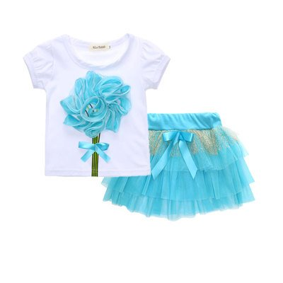 Beautiful Blue Frill Skirt with stylish Top