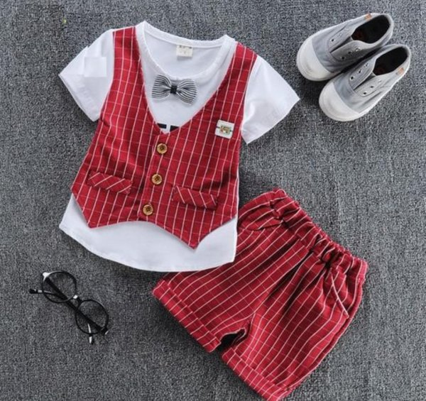 Beautiful Red Attached Waistcoat Set with Short