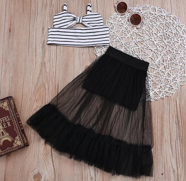Black & White Summer Top With Long Skirt
