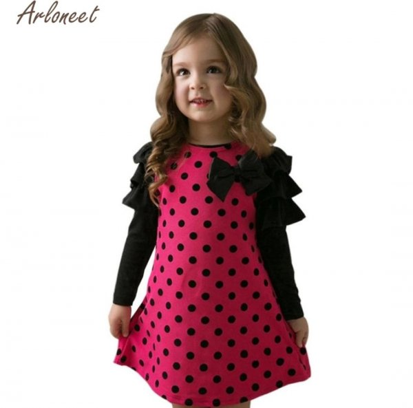 Black and Magenta Polka pattern Dress