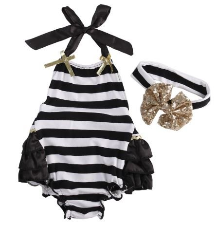 Black and White Striped Romper with Headband