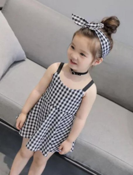 Black Checked Straped Frock