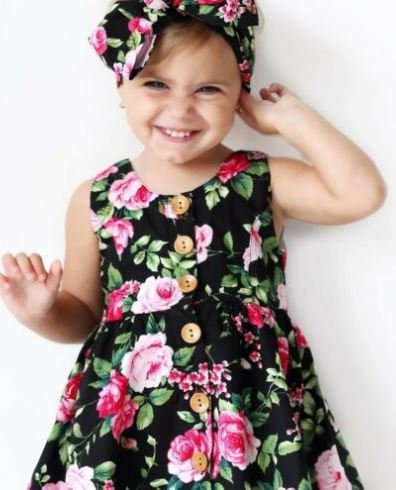 Black Floral Frock with Headband