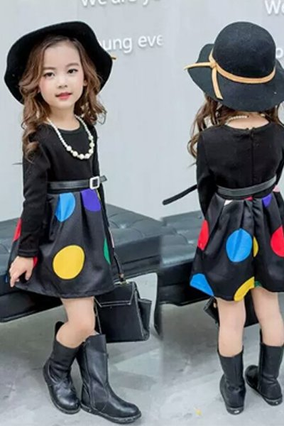 Black Multicolored Dress with necklace and belt