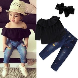Black Offshoulder Top WIth Jeans And Hedband