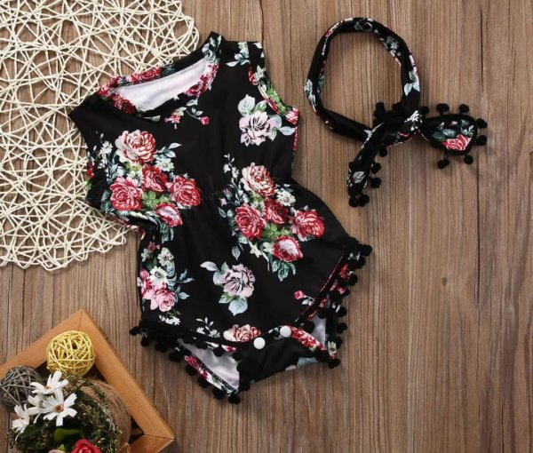 Black Printed Rompers With Headband