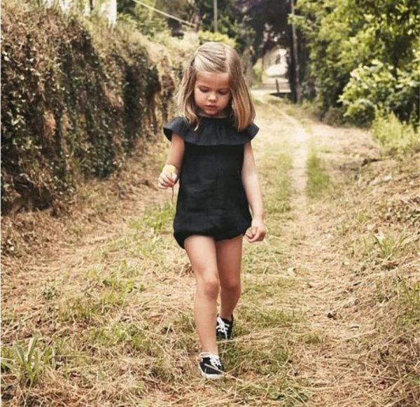 Black Romper with Frill Neck Pattern