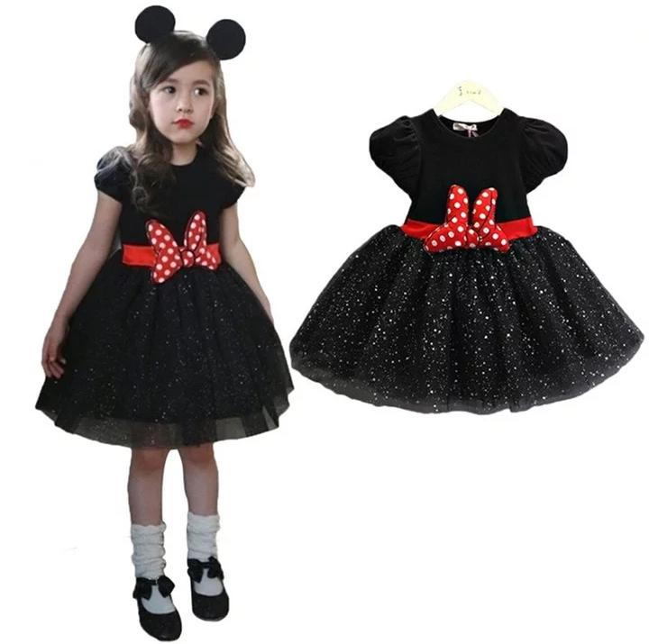 Black Shimmer Party Dress with Detachable Bow