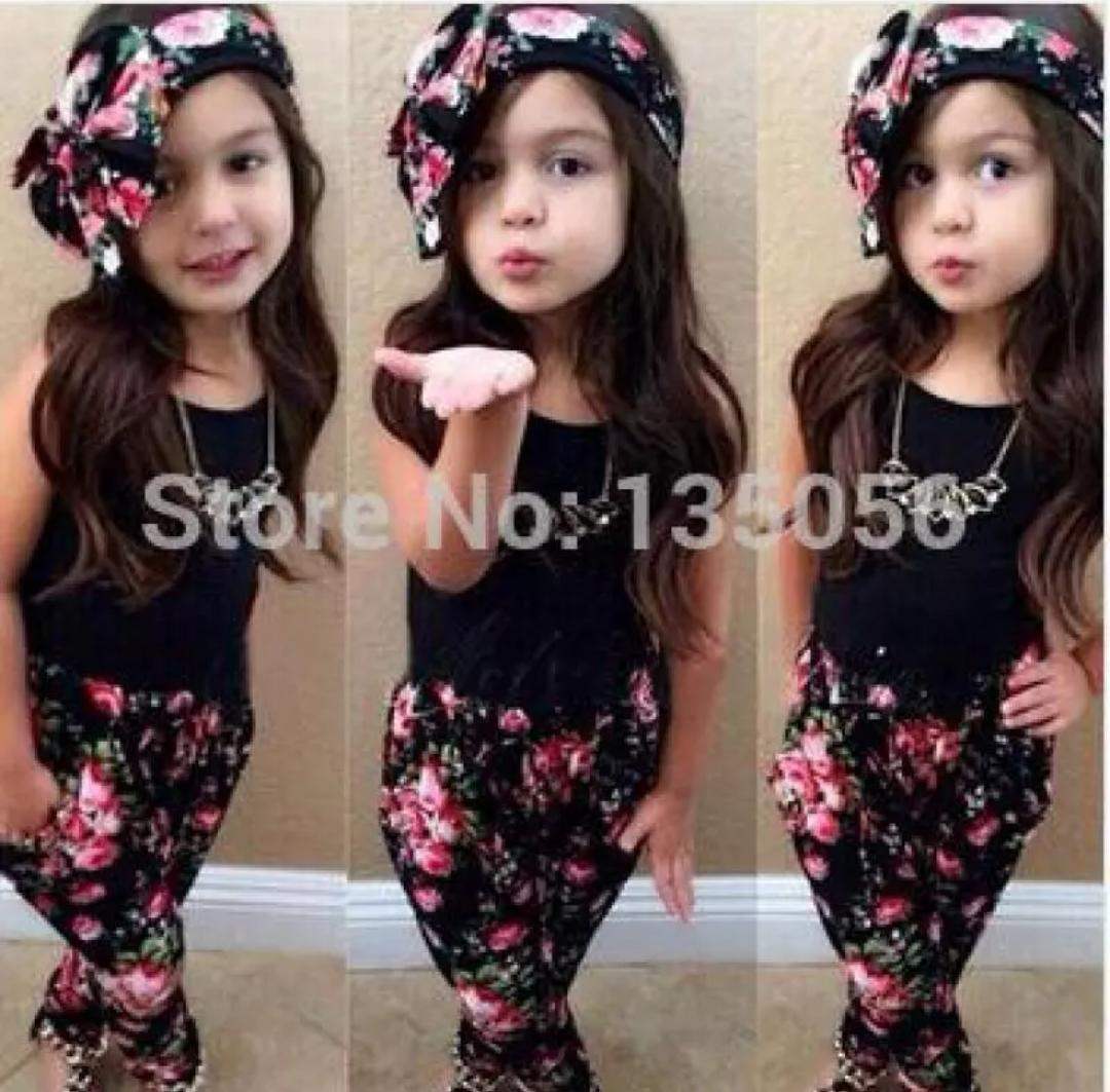 Black Top & Floral Pant With Headband