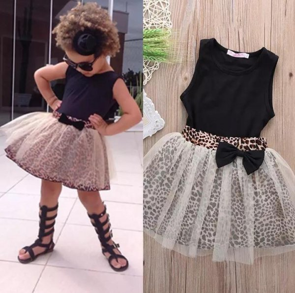 Black Top With Animal Print Skirt