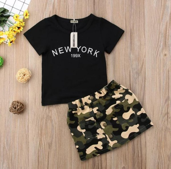 Black Top With Army Print Skirt