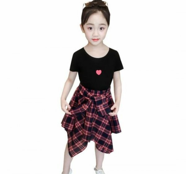 Black Top with Checked Skirt