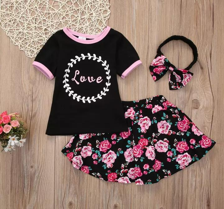 Black Top With Floral Skirt & Headband