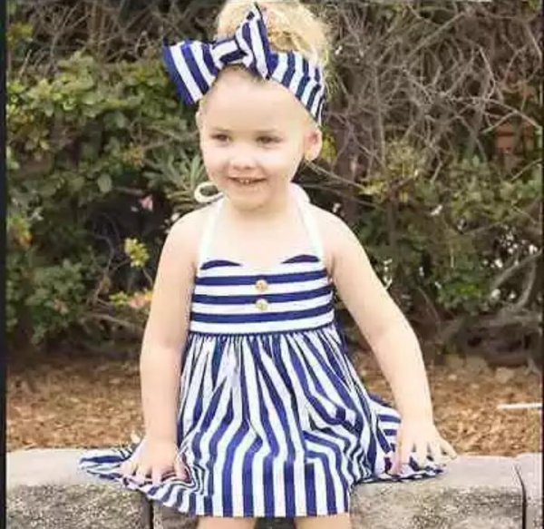 Blue & White Stripped Dress With Headband