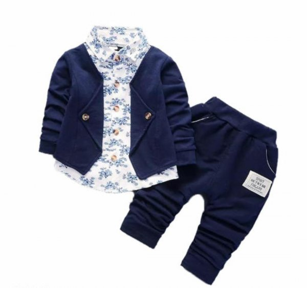 Blue Attached Blazer Set for Boys