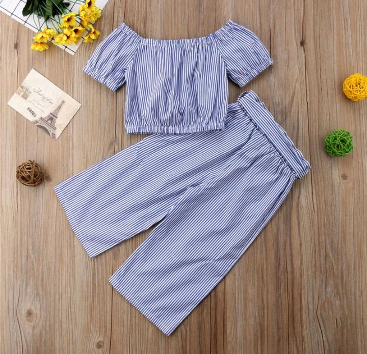 Blue Crop Top with Culottes Set