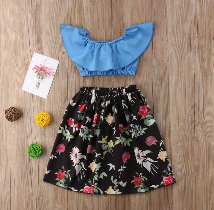 Blue Crop Top With Floral Skirt