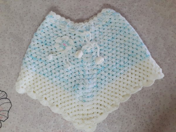 Blue Handmade Poncho for Girls