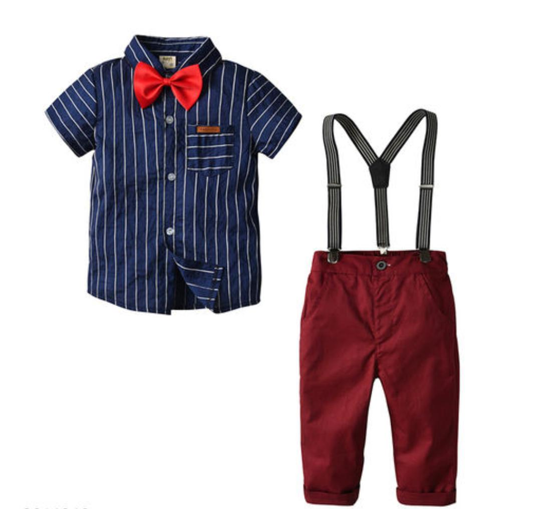 Blue Shirt with Red pant & Suspenders