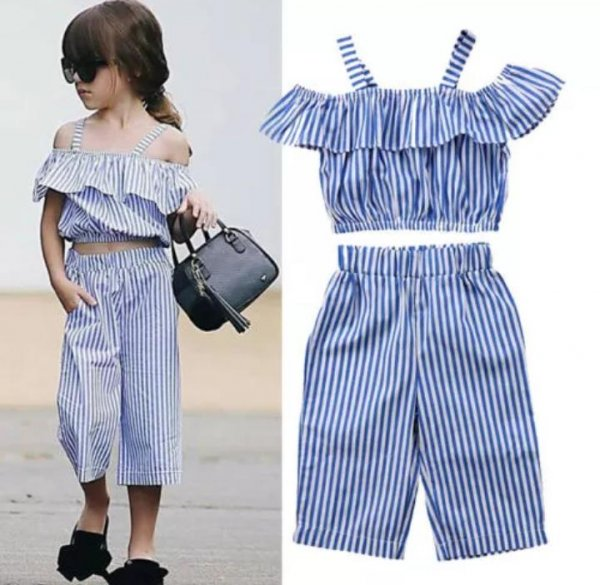 Blue Striped Culottes and Top set