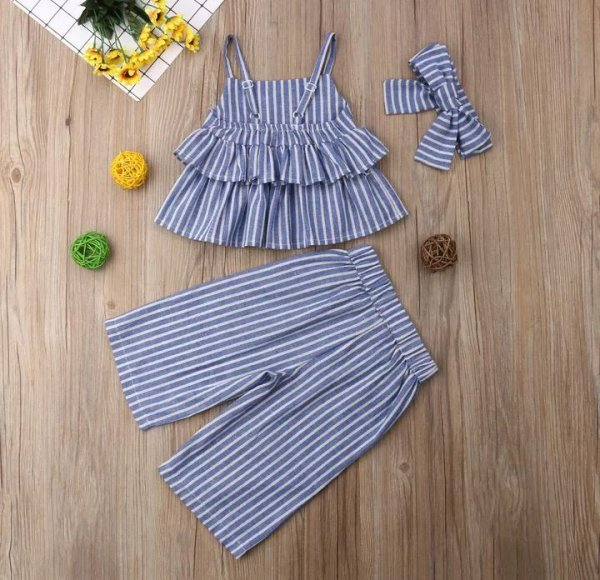 Blue Striped Culottes Set with Headband