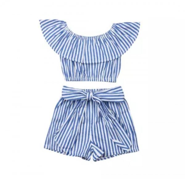Blue Striped Shorts Set