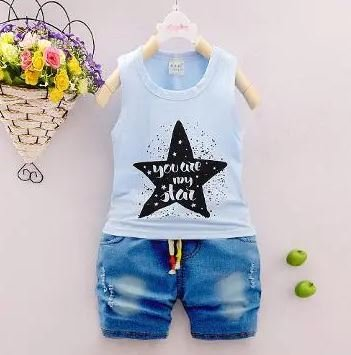 Blue Top With Star Print & Short