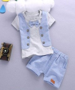 Boys Attached Waist Coat With Bow ( Blue & Grey )