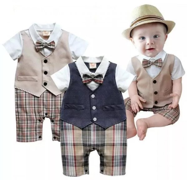 Boys attached waistcoat Romper (Beige)