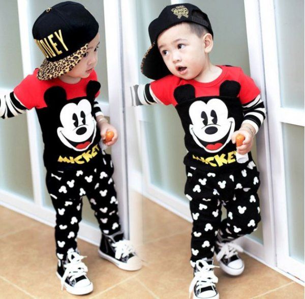 Boys Mickey Print Smart Casual