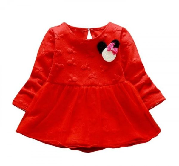 Bright Red Infant Full sleeve Frock