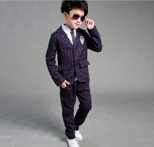 Boys Blue Check Blazer Set