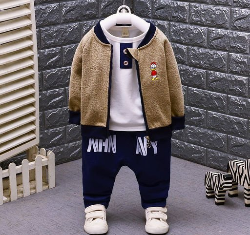 Boys 3 Pc Set with Brown Blazer