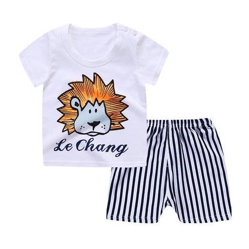 Boys Lion Print White Summer set