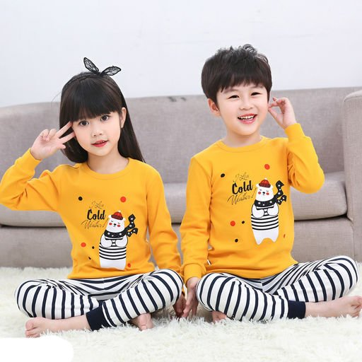 Unisex Yellow Striped Full Sleeve Set