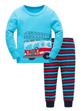Unisex Blue and Red Striped Nightwear Set