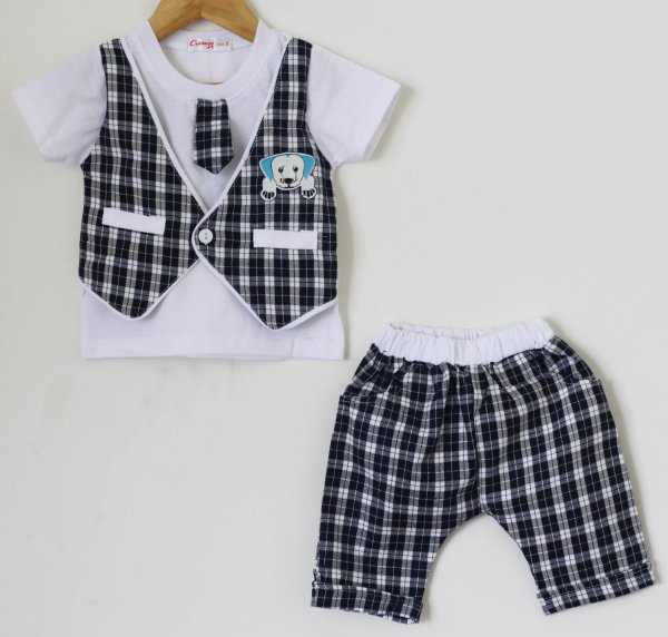 Boys Black Check set of Top and Shorts with Attached Tie