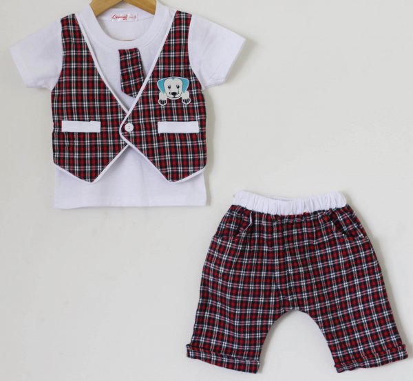 Boys Red Check set of Top and Shorts with Attached Tie