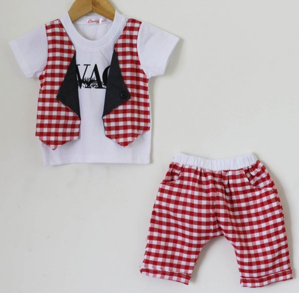 Boys Red Check Summer set of Top and Shorts  with Attached Waistcoat