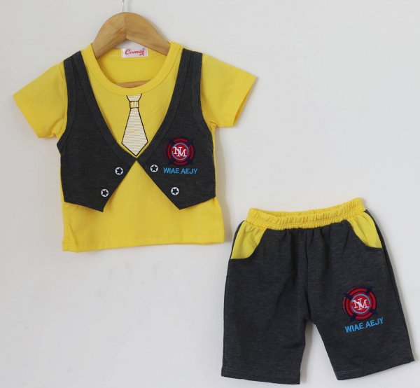 Boys Yellow Summer set of Top and Shorts  with Attached Waistcoat