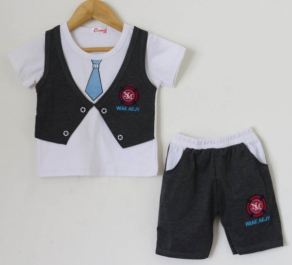 Boys Grey Summer set of Top and Shorts  with Attached Waistcoat