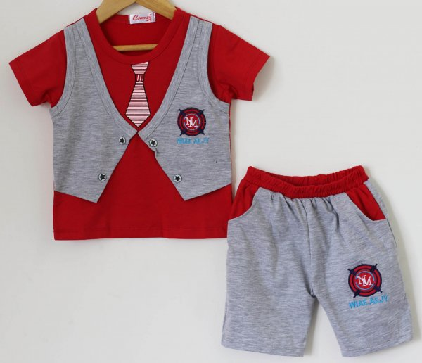 Boys Red and Grey Summer set of Top and Shorts  with Attached Waistcoat