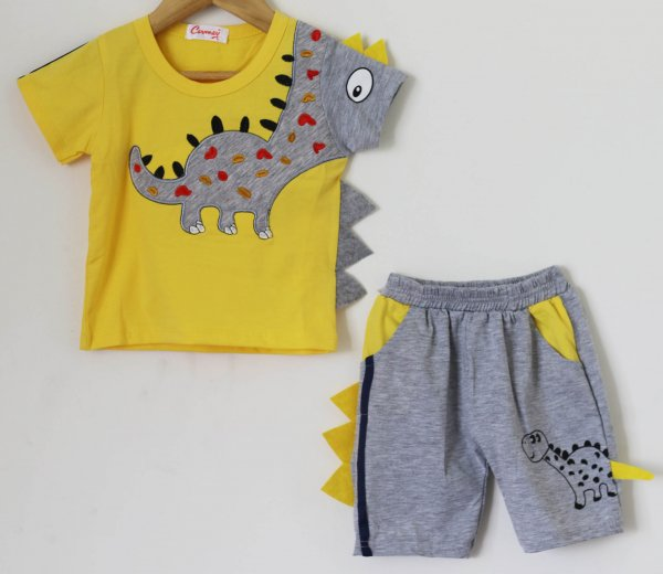 Boys Yellow Dinasaur Print Summer set of Top and Shorts