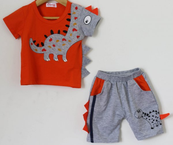 Boys Orange Dinasaur Print Summer set of Top and Shorts