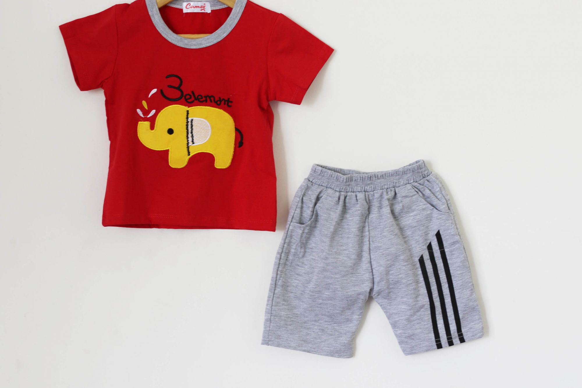 Boys Red and Grey Elephant Print Summer set of Top and Shorts