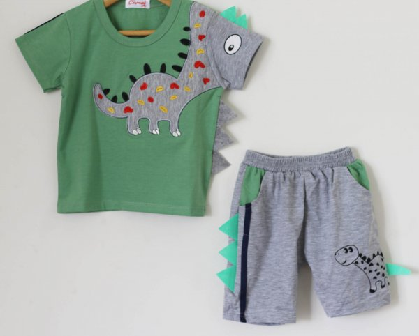 Boys Green Dinasaur Print Summer set of Top and Shorts